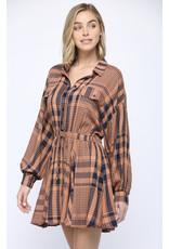 PLAID WAIST TIE LONG SLV DRESS