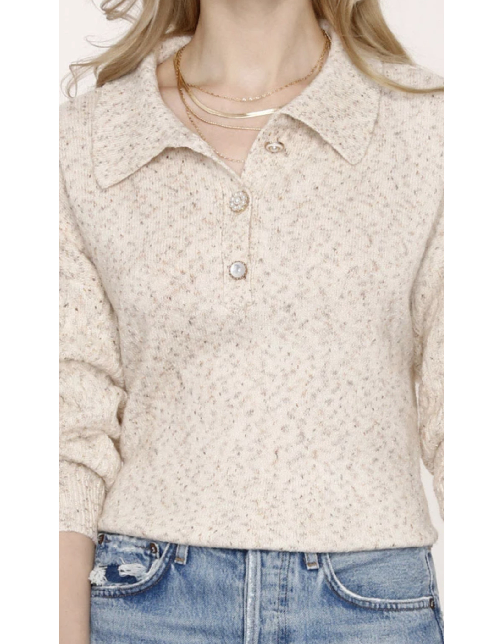3 PEARL BUTTON SWEATER