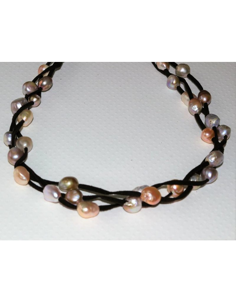SB Jewelry Designs Suede Pearl Necklace