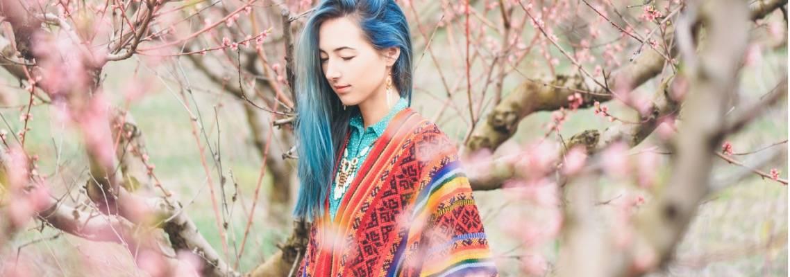Blue Hair Poncho