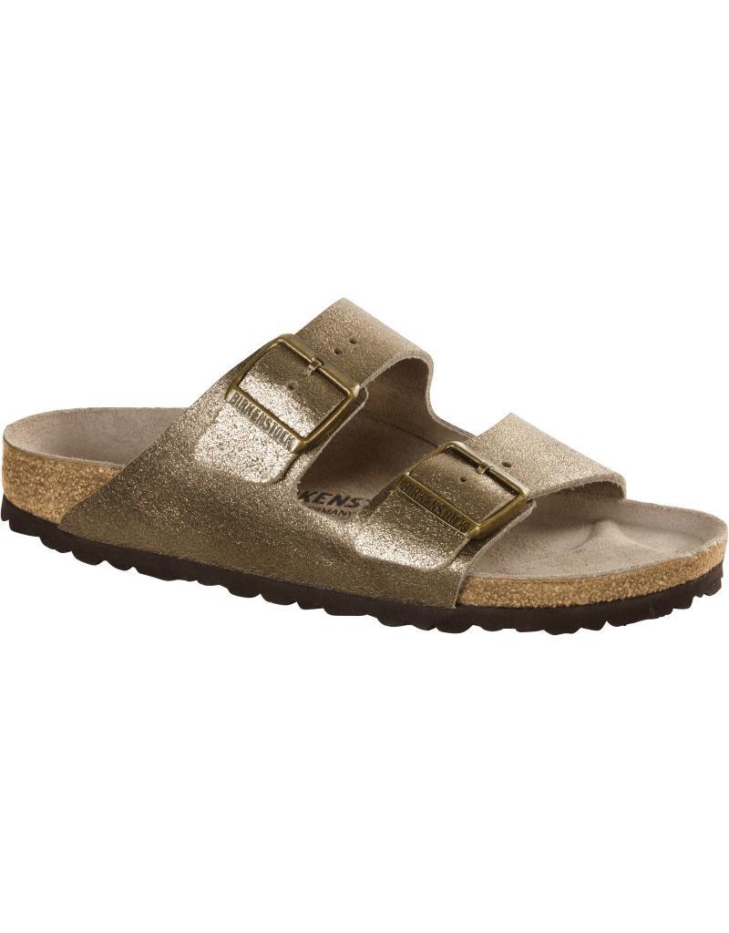 Birkenstock Arizona Washed Metallic Gold Leather Sandal