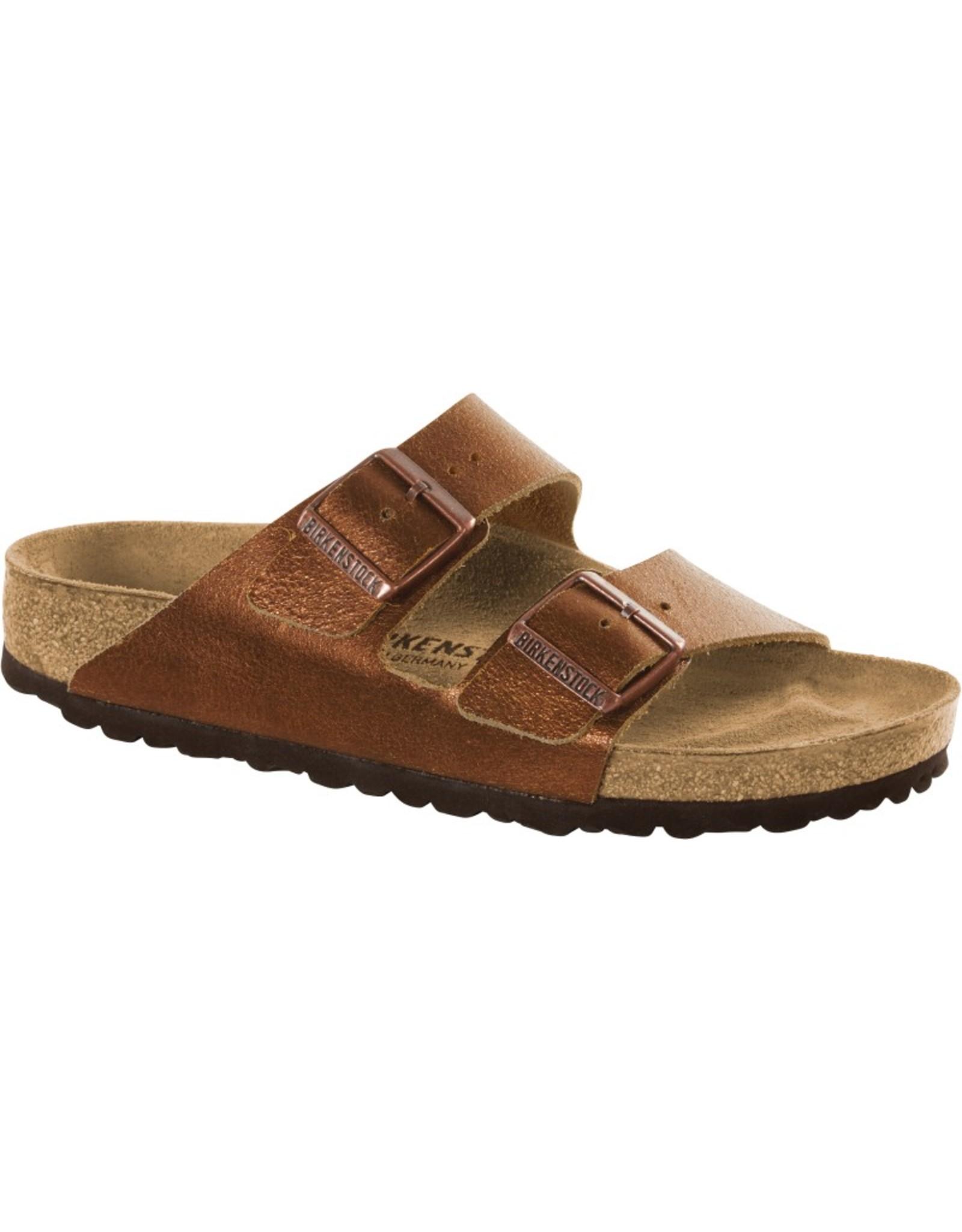 Birkenstock Arizona Washed Metallic Copper Leather Sandal