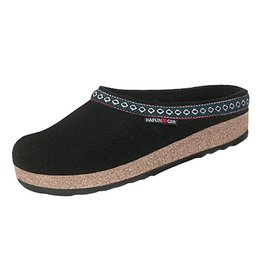Wool Felt Black Grizzy Clog