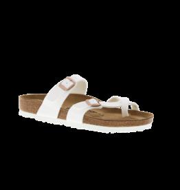 Birkenstock Mayari White Birko-Flor Sandal with Copper Buckles
