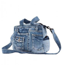 Small Recycled Jean Bag with Handles
