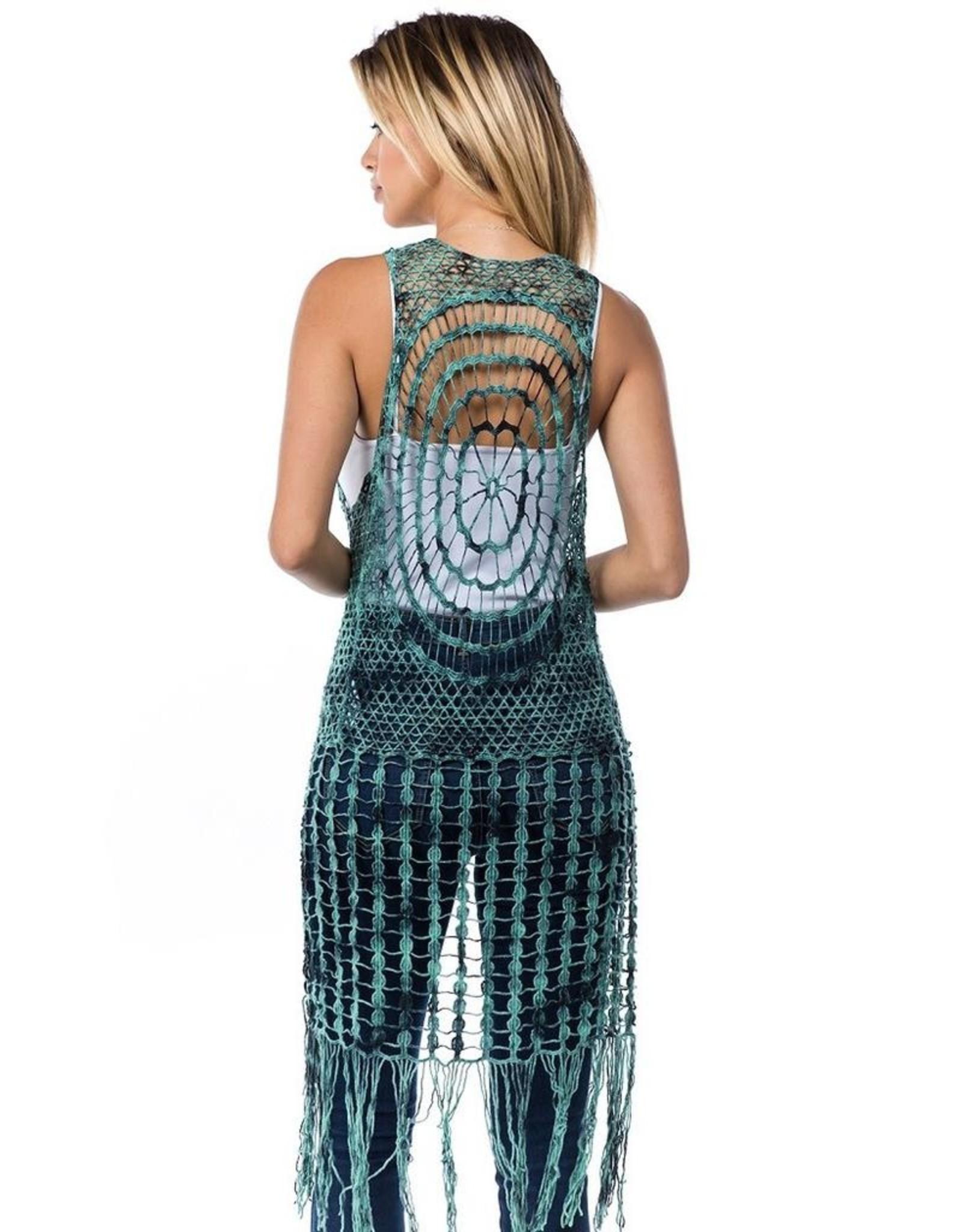 Tie Dye Crochet Fringe Front Tie Vest