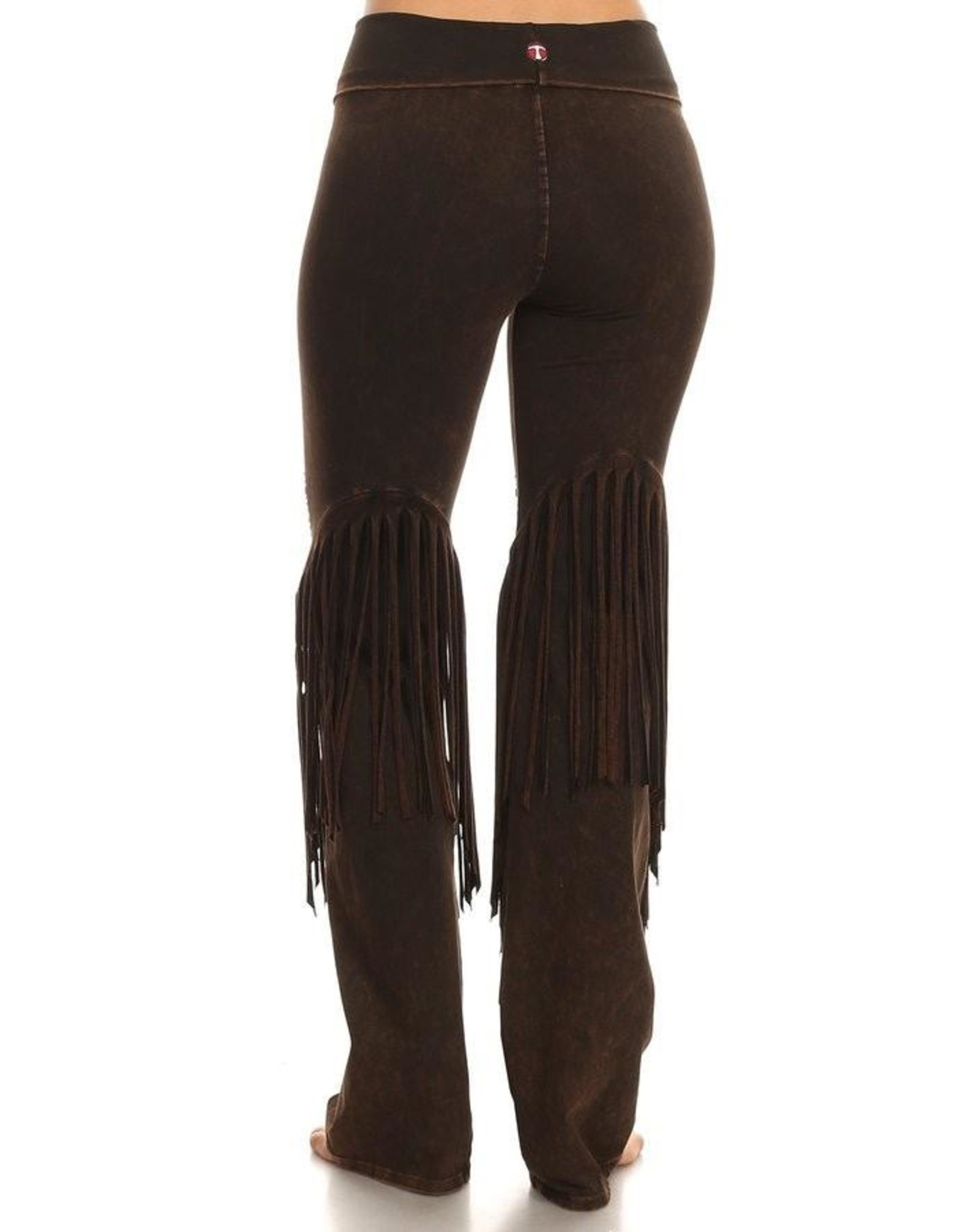 Stone Design Fringe Detail Yoga Pants