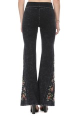 Mineral Wash Floral Embroidered Flare Yoga Pants