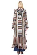 Multi Color Knit Long Cardigan