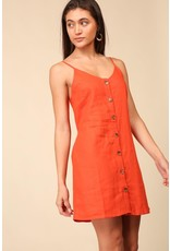 Sleeveless Linen Rayon Dress with Button Down Detail