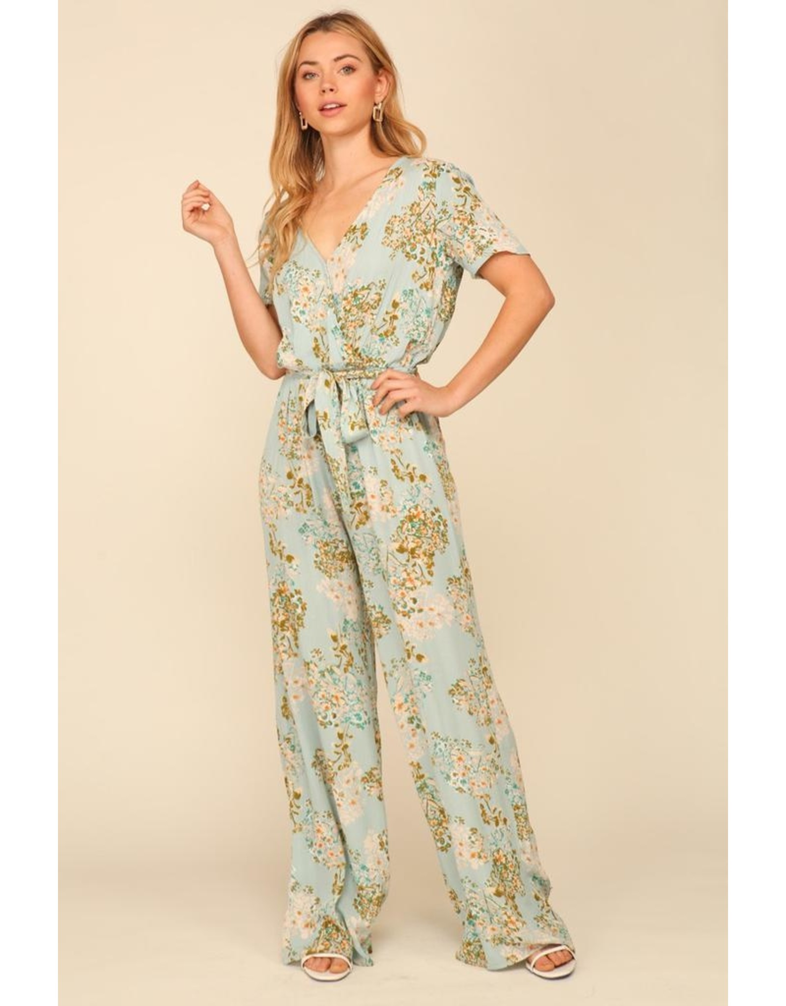 Short Sleeve Wrap Style Floral Jumpsuit