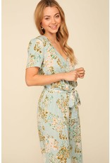 Timing Short Sleeve Wrap Style Floral Jumpsuit
