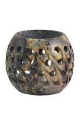 Carved Soapstone Votive Candle Holder