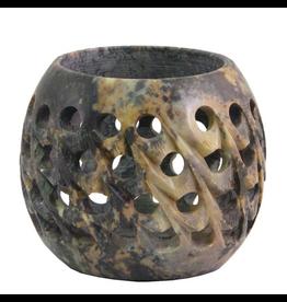 Carved Soapstone Votive Candle Holder