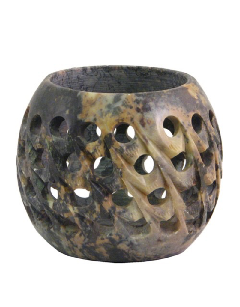 Wildberry Carved Soapstone Votive Candle Holder