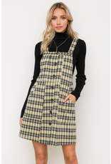 Button Front Overall Plaid Mini Dress
