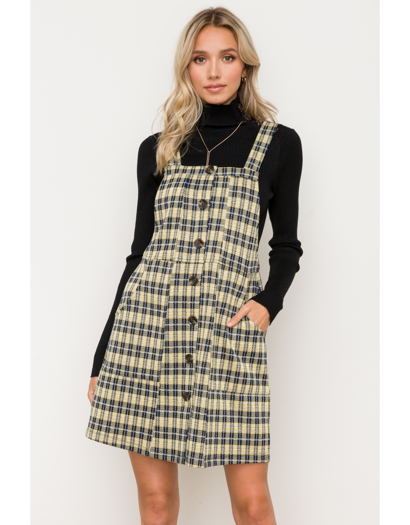 Hem & Thread Button Front Overall Plaid Mini Dress