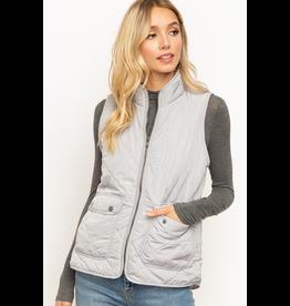 Hem & Thread Fur Lined Mock Neck Padded Vest