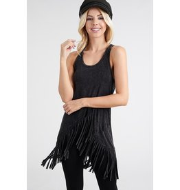 Fringed Mineral Washed Sleeveless Top