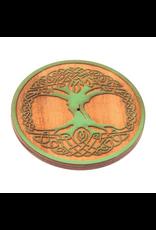 Wooden Round Celtic Tree Incense Burner