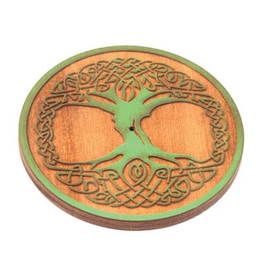 Wildberry Wooden Round Celtic Tree Incense Burner