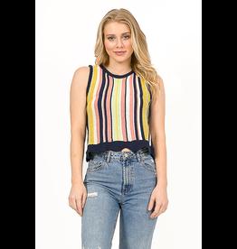 Sleeveless Knitted Multi Stripe Scalloped Top
