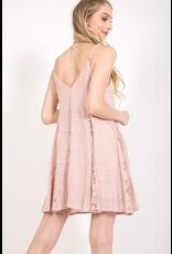 Spaghetti Strap Swing Dress with Lace Inserts