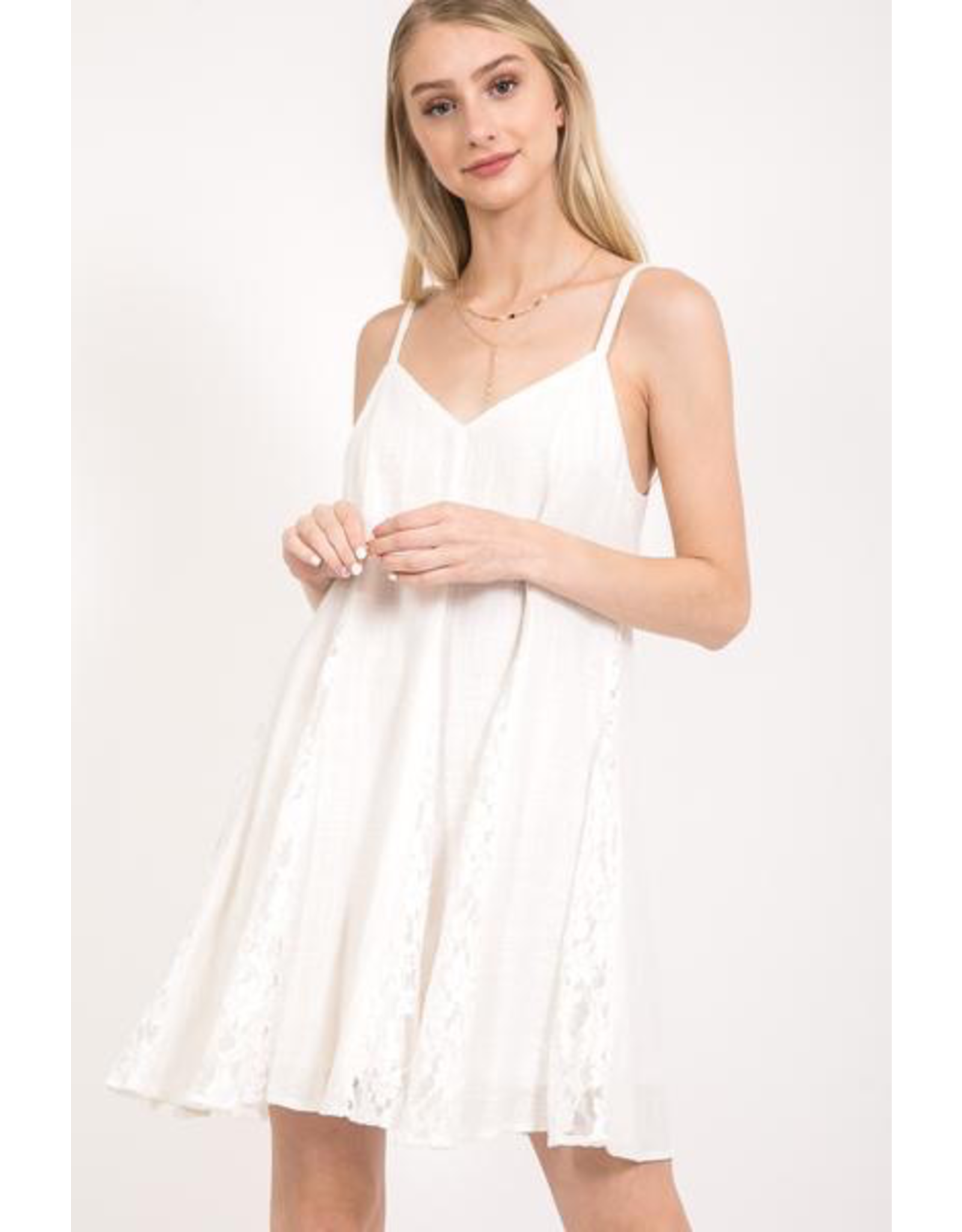 Spaghetti Strap Swing Dress with Lace Inserts
