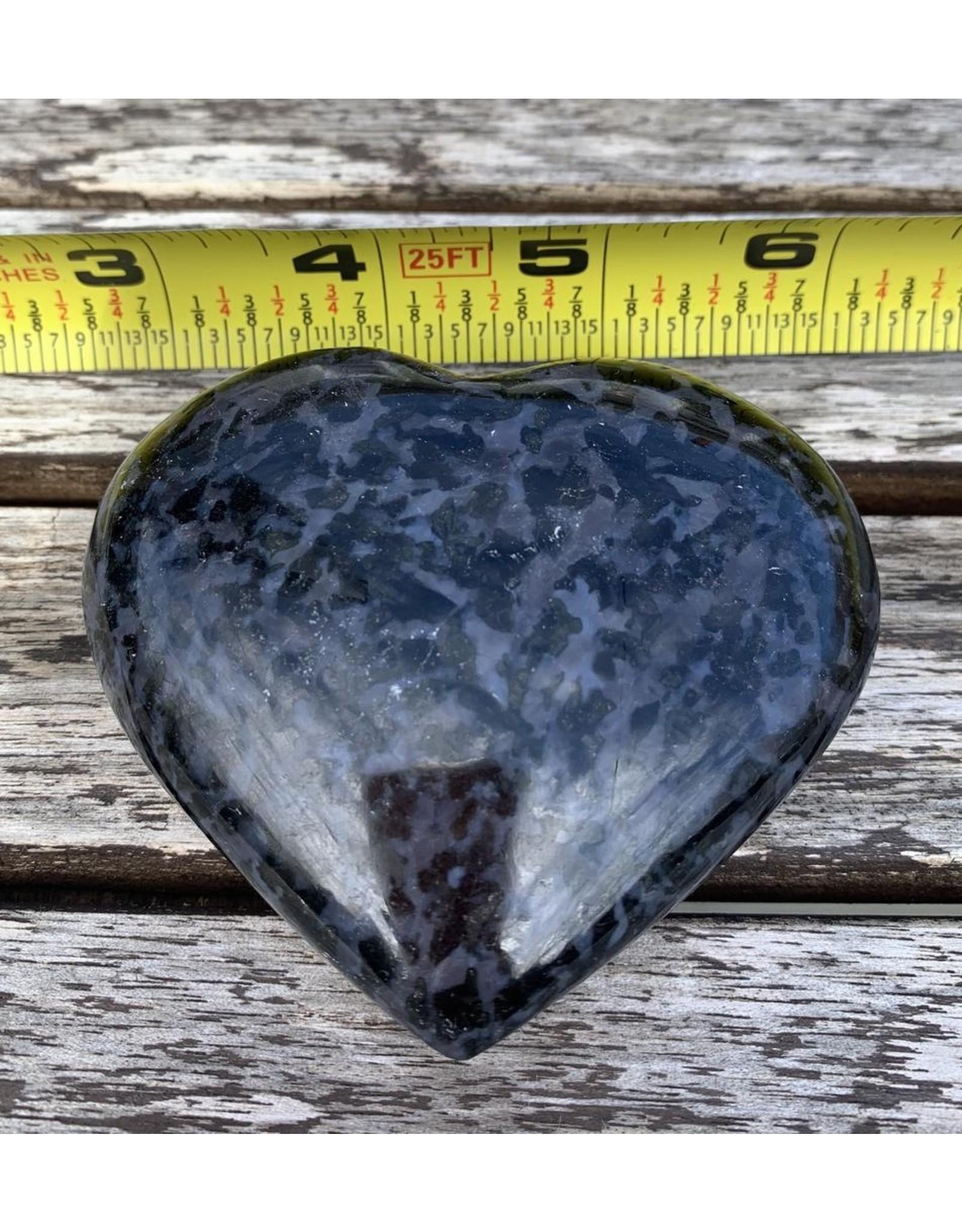 Polished Indigo Gabbro Heart