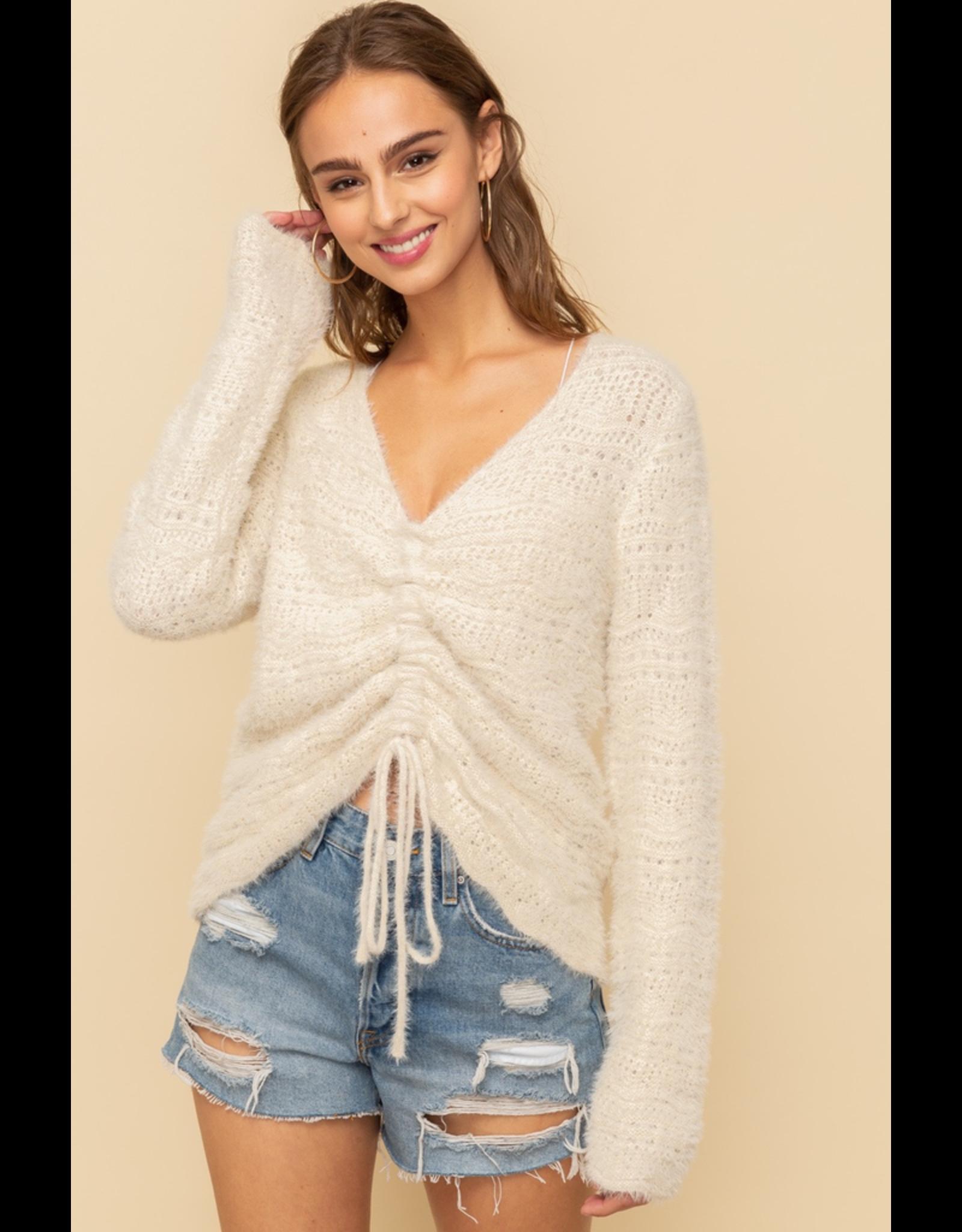 Cinched Crop Sweater Top