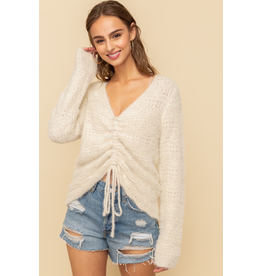Hem & Thread Cinched Crop Sweater Top
