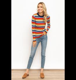 Hem & Thread Mock Neck Multi Color Stripe Sweater