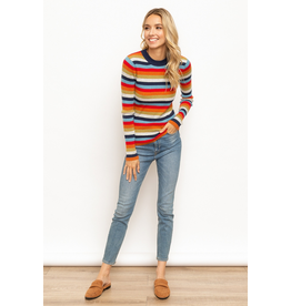 Mock Neck Multi Color Stripe Sweater