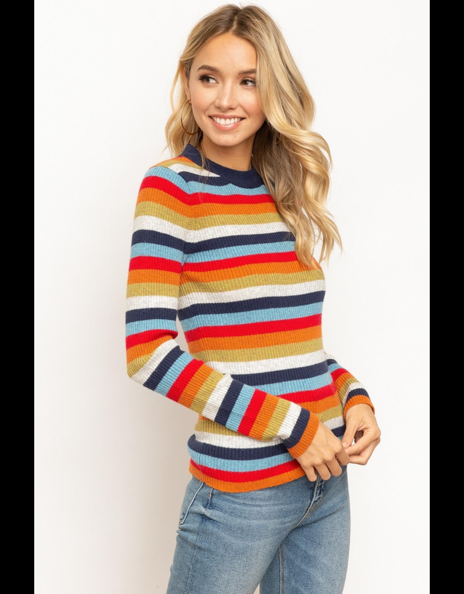 Mock Neck Multi Color Stripe Sweater