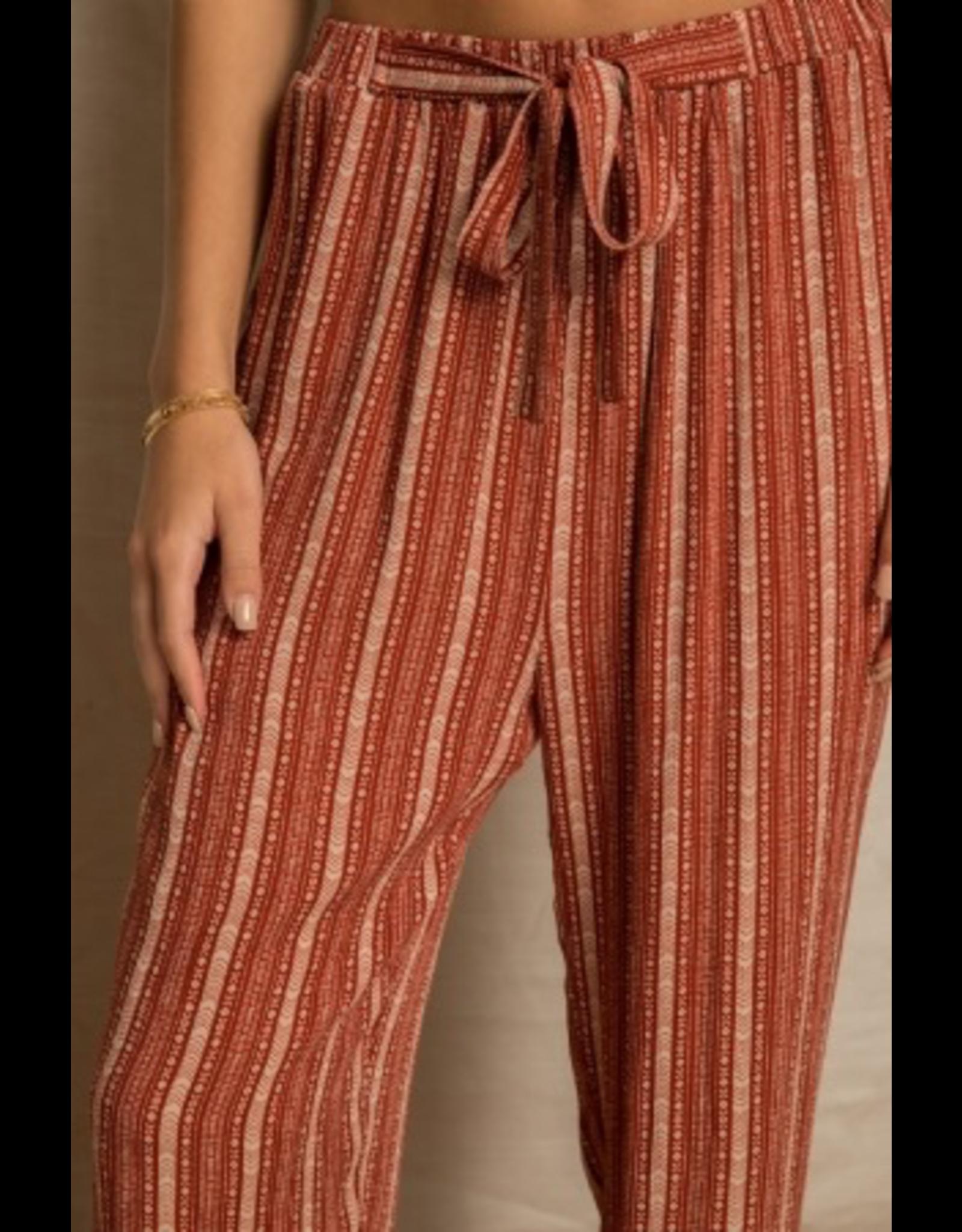 Tie Waist Ethnic Print Pants