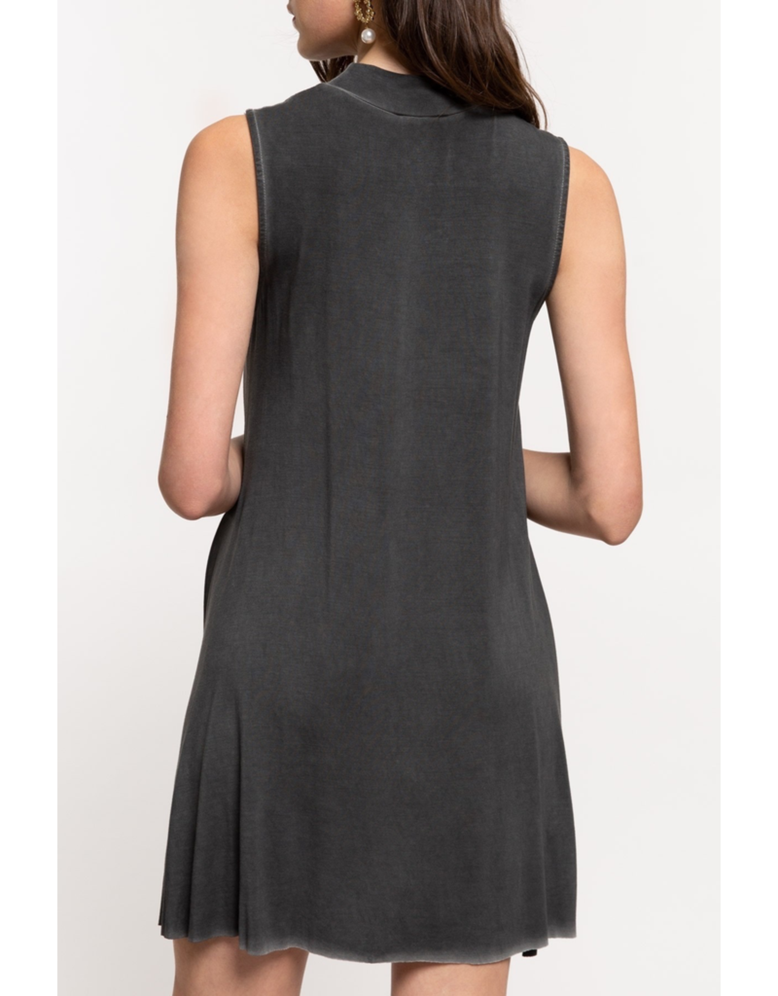 Mockneck Sleeveless Swing Dress