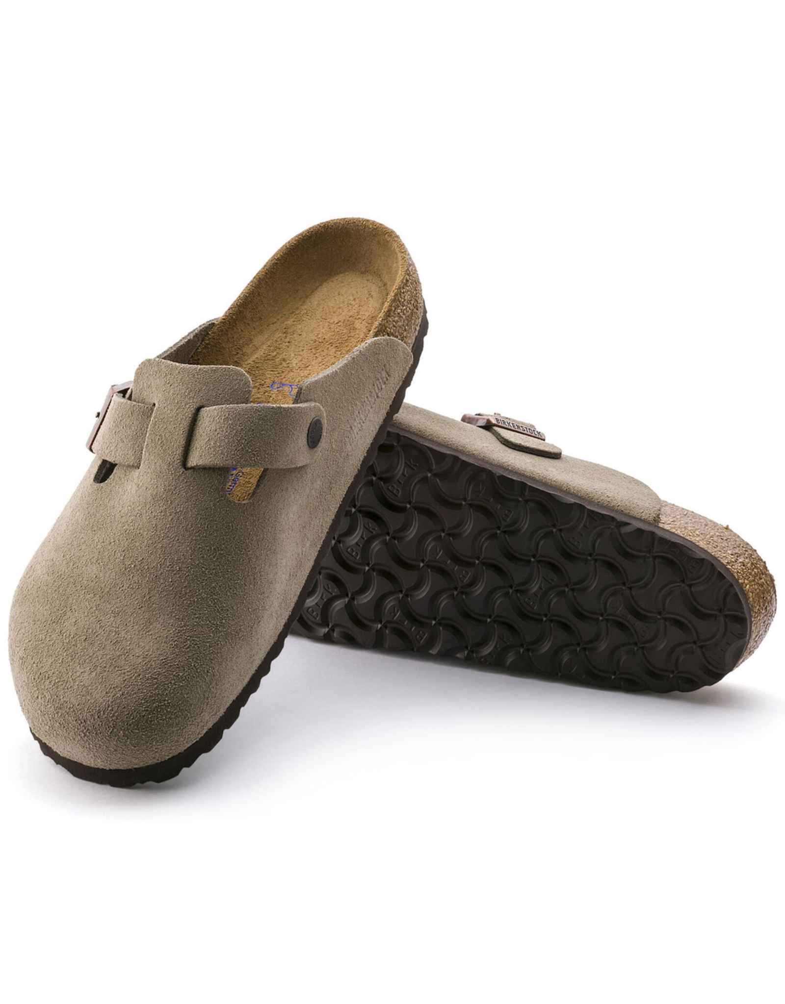 Birkenstock Taupe Suede Boston Soft Footbed Clog