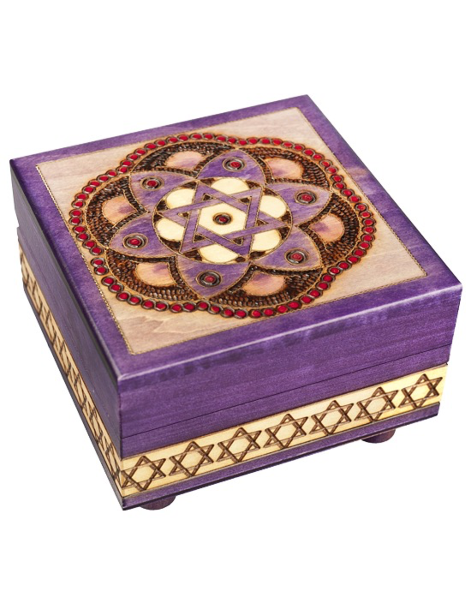 Enchanted Boxes Star of David & Flower Wood Box