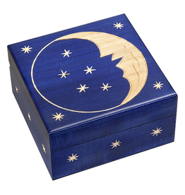 Enchanted Boxes Carved Moon Wood Box