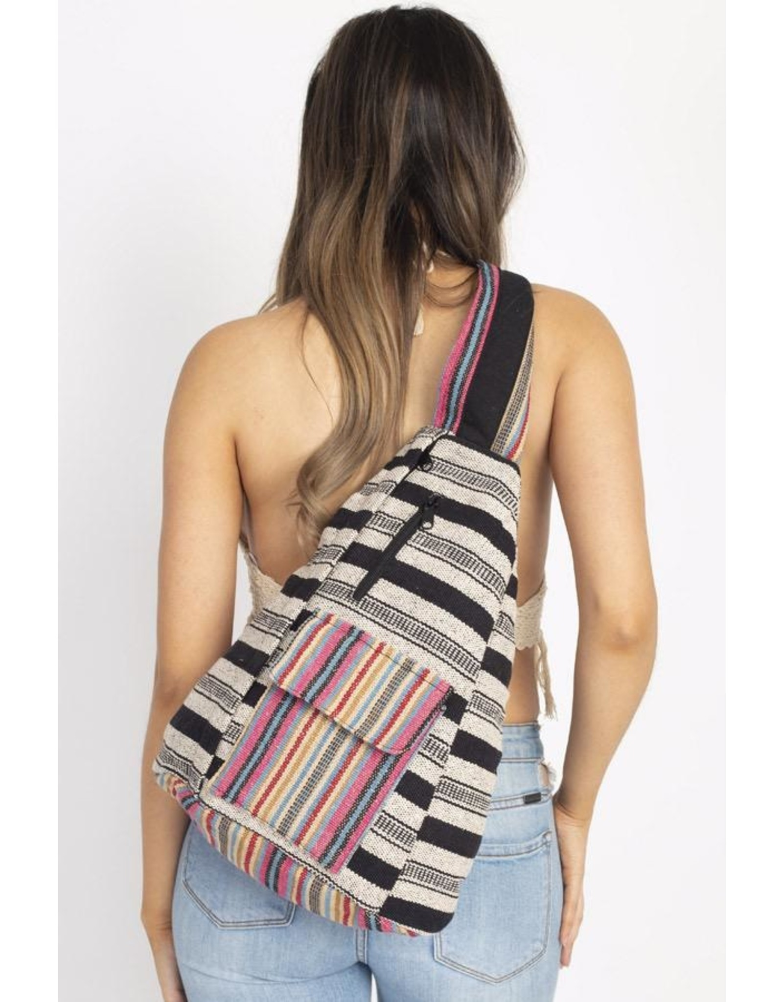 Rustic Stripe Crossbody Sling Backpack