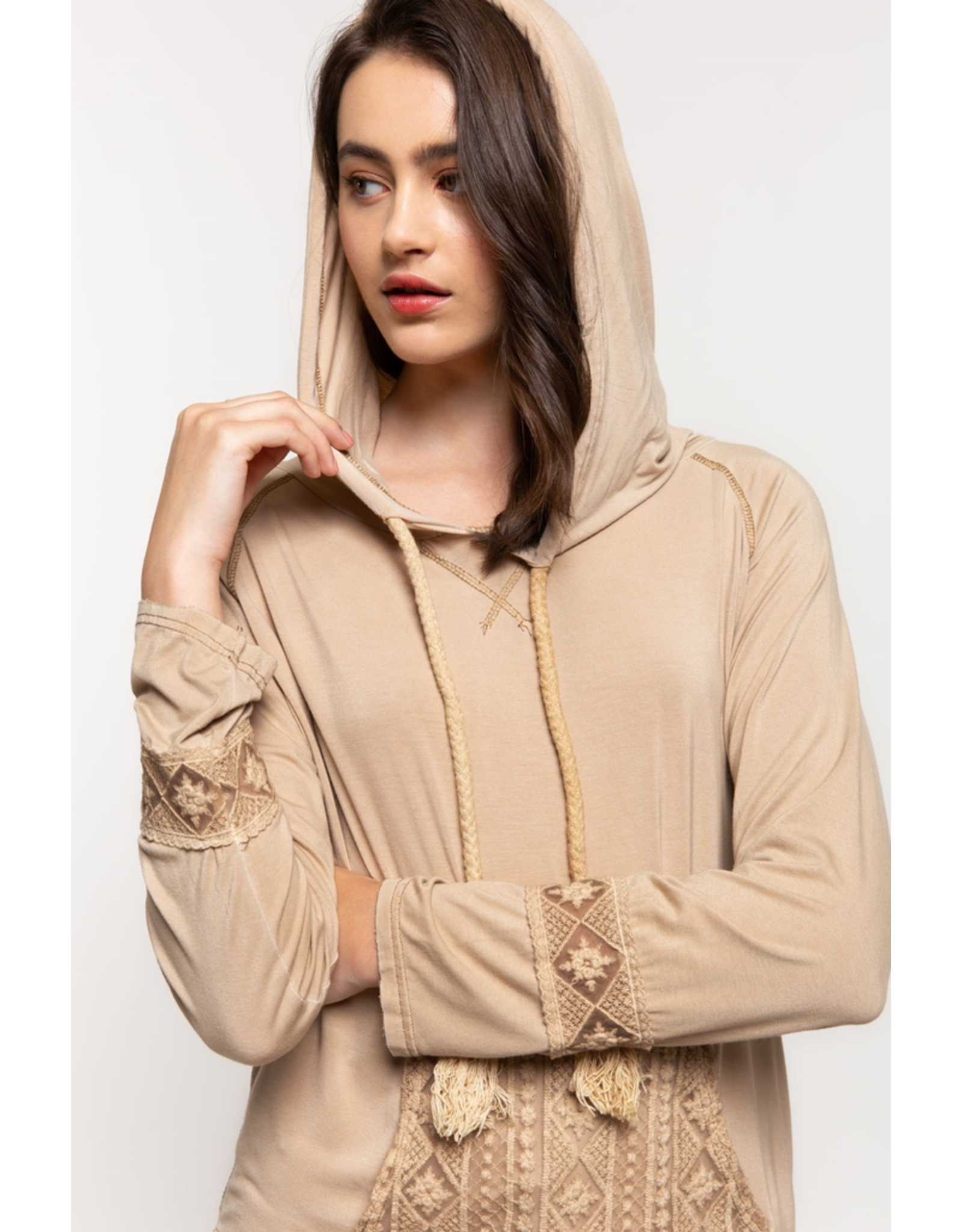 Knit Hooded Top with Front Pocket