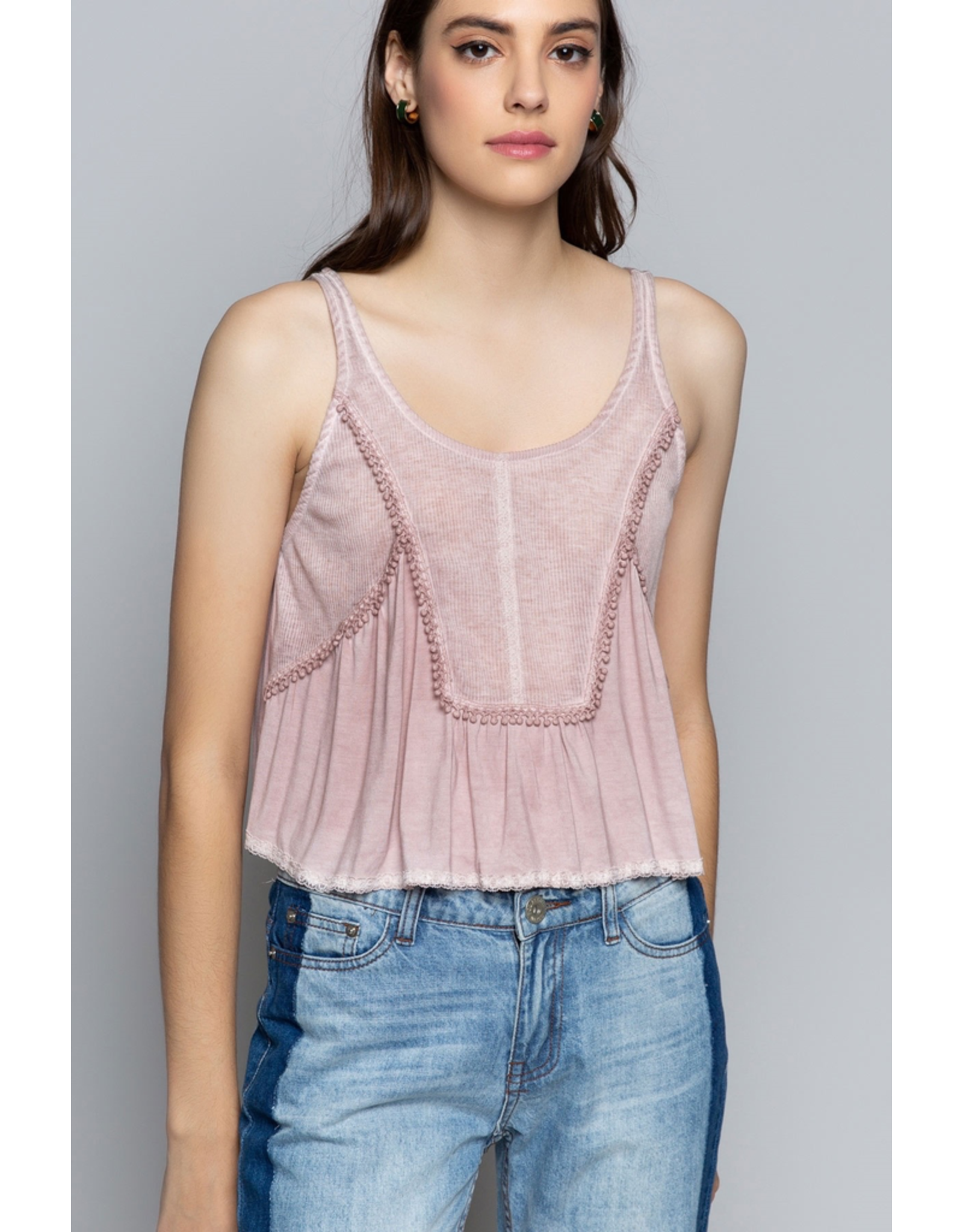 Rib Knit Panel Crop Top