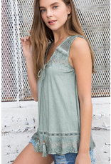 Sleeveless Knit Tank with Lace Trim