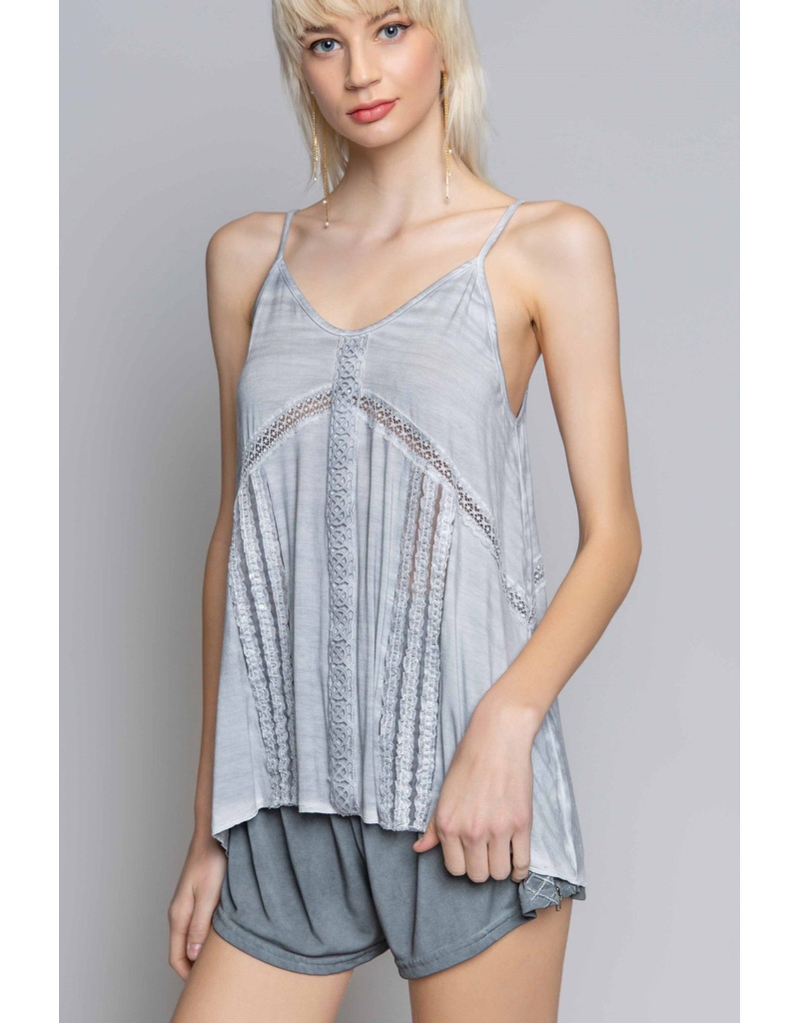 V-Neck Tank Top with Lace Trim