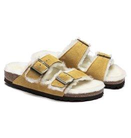 Birkenstock Birkenstock Arizona Suede Ochre Shearling Sandal