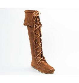 Minnetonka Front Lace Hard Sole Knee Hi Boot