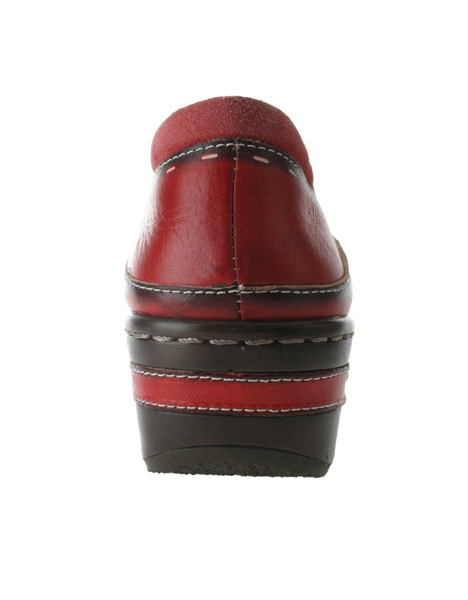 Burbank Red Leather Clog