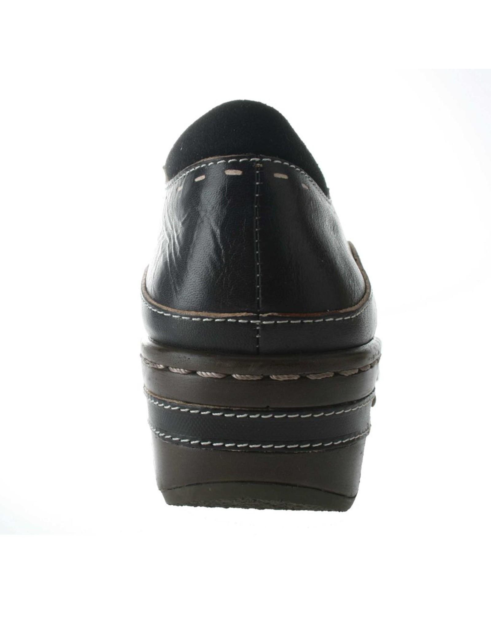Burbank Black Leather Clog