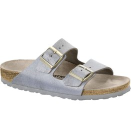 Birkenstock Arizona Leather Washed Metallic Blue Sandal
