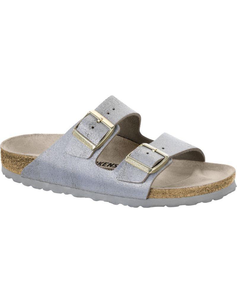 Birkenstock Arizona Leather Washed Metallic Blue Sandal